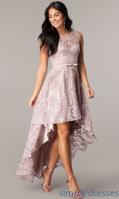 Lace High-Low Sleeveless Semi-Formal Party Dress - Oriel D. Semi Formal Outfits For Women Parties, Semi Formal Dresses For Teens, Prom Girl Dresses, Lace Party Dresses, Cotillion Dresses, Vestidos Teen, High Low Lace Dress, Classy Dress, Dame