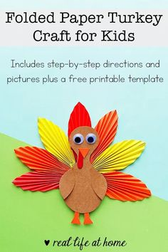 Using a free printable template and inexpensive supplies, kids can make a folded paper turkey craft for Thanksgiving with these step-by-step instructions. #ThanksgivingCraft #TurkeyCraft