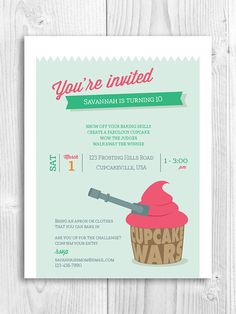 Cupcake Printable Invitation - cupcake wars, baking party