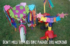 Neighborhood kids bicycle parade.  Araya J.  I used to do this as kids, good memories :)
