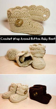 Crochet Wrap Around Button Baby Boots - 17 Free Crochet Baby Booties Pattern / Crochet Baby Shoes - I Heart Crafty