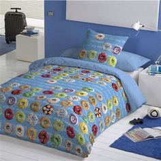 Howard Shooter Studio Donuts Single Duvet Cover Set, Sky Blue available at ACHICA.COM