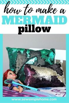 Step by step tutorial on how to make a mermaid pillow along with how to sew sequin fabric successfully. Step by step tutorial on how to make a mermaid pillow along with how to sew sequin fabric successfully. Cute Sewing Projects, Sewing Patterns For Kids, Sewing Projects For Beginners, Sewing Tutorials, Sewing Tips, Diy Projects, Mermaid Pillow, Mermaid Diy, How To Sew Sequins