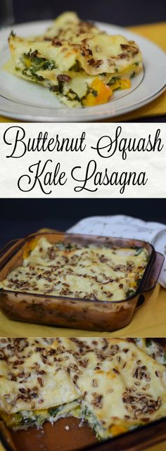 Butternut Squash Kale Lasagna made with a white cheese sauce and topped with pecans adding more delicious nuttiness. #SundaySupper