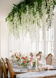 Silk White Wisteria Flowers falling down to dinning table Wedding Centerpieces, Wedding Table, Wedding Decorations, Table Decorations, Decor Wedding, Flower Decorations, Diy Wedding Flowers, Wedding Colors, Wedding Bouquets