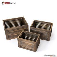 Skrzynki drewniane zestaw 3 sztuk organizer pudełka kolor brązowy