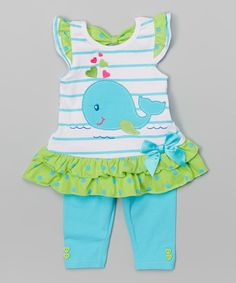 Love this Blue Whale Tunic & Leggings - Toddler & Girls by Nannette Girl on #zulily! #zulilyfinds