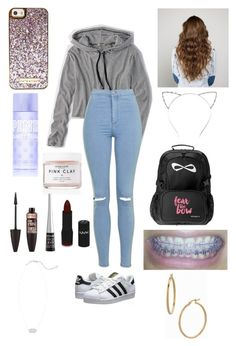 """Got my braces colors changed today!"" by one-of-those-nights ❤ liked on Polyvore featuring American Eagle Outfitters, Topshop, adidas Originals, CO, Victoria's Secret, Herbivore, Maybelline, Wet n Wild, NYX and Kendra Scott"