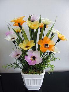 Handmade Colorful Nylon Flower Arrangement - Sold