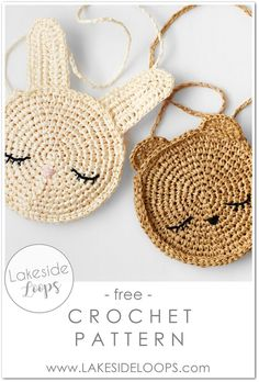 Crochet circle purses for kids! This bunny and bear crochet bag pattern is sure… Crochet circle purses for kids! This bunny and bear crochet bag pattern is sure…,DIY Häkeln Tasche versch. Modern Crochet Patterns, Knit Patterns, Crochet For Kids, Free Crochet, Ravelry Crochet, Circle Purse, Crochet Faces, Crochet Birds, Crochet Food