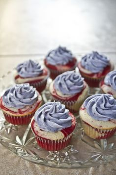 Red Velvet Marbled Cupcakes with Blueberry Cream Cheese Frosting.