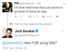 probably is tho, we all know it could actually be a title, never question FOB's ability to make an album that takes longer to read all the titles of the song than to actually LISTEN to the entire album 3 times.