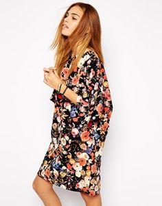 Glamorous T-Shirt Dress in Painted Rose Print