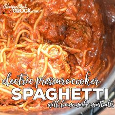Are you looking for a good Electric Pressure Cooker Recipe for your Instant Pot? Our Electric Pressure Cooker Spaghetti with Homemade Meatballs. Someone said you can use frozen meatballs instead of fresh too Pressure Cooker Spaghetti, Best Electric Pressure Cooker, Power Pressure Cooker, Instant Pot Pressure Cooker, Electric Cooker, Pressure Pot, Pressure Cooking Recipes, Slow Cooker Recipes, Crockpot Recipes