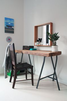 Reclaimed lumber vanity with Ikea legs (via apartment therapy)