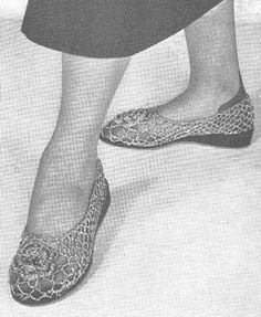 1949 Irish Lace Slippers Vintage Crochet Pattern PDF 251 $3.75