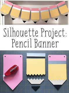 Paper Pencil Banner Pencil Meets Paper in This Cute Silhouette Banner Project! - Back To School Back To School Party, Back To School Gifts, School Parties, School Fun, Cricut Banner, Diy Banner, Banner Ideas, Pencil Crafts, School Decorations