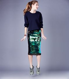 @Who What Wear - Sequin skirts don't have to be synonymous with disco balls and American Hustle. Create a model-off-duty look by adding a slouchy knit top and colorful sneakers. Rodebjer Baluster Sparkle Skirt ($350); J Brand Jill Sweater ($395) in Duke; Vita Fede Mini Titan Bracelet ($225) in Silver; Dezso by Sara Beltrán Silver Andara Shark Tooth on Mexican Bracelet ($115); Dezso by Sara Beltrán Silver Andara Shell on Mexican Bracelet ($55); Nike Flyknit Lunar1+ Women's Running Shoes ($129)…