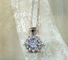 Crystal Flower Necklace in Sterling Silver by NorthCoastCottage, $39.00