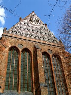 Examples of brick gothic architecture - St Nikolai church in Wismar Germany