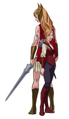 Adora and She-Ra... makes She-Ra look eight  feet tall.