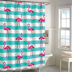 Destinations Pink Flamingo Shower Curtain In Aqua BedBathandBeyond