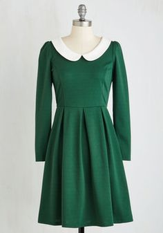 Record Store Date A-Line Dress in Forest. Spotting your favorite record among the stacks, you set it on the turntable and start to dance in this fabulous forest green dress! #green #modcloth