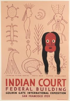 Indian Court, Federal building - Golden Gate international exposition - San Francisco - Chippewa picture writing, Seneca mask, eastern woodlands - 1939 - (Louis Siegrest) -