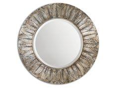 Uttermost Foliage Round Silver Leaf Mirror 07065