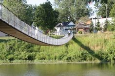 Pedestrian swinging bridge in Croswell, Michigan. As you can see, the bridge isn't incredibly high.