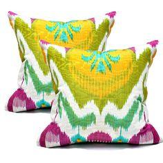 gorgeous silk ikat pillows