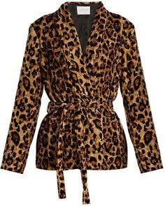 VELVET BY GRAHAM & SPENCER Calla leopard-print tie-waist velvet jacket