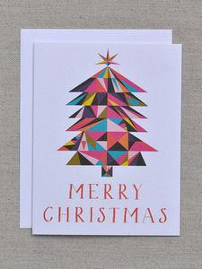 Merry Christmas Geometric Tree Note Card -banquetworkshop.com