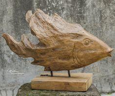 Carved Driftwood Modern Fish Sculpture | Solid Natural Teak | eBay