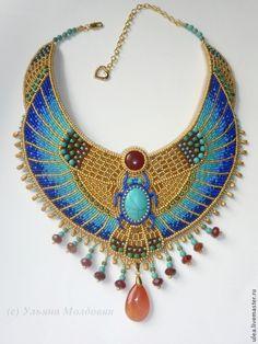 Купить Колье в египетском стиле - колье, Праздник, праздничное украшение, праздничное колье, подарок, на выпускной