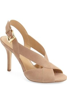Michael Michael Kors 'becky' Slingback Sandal (women) In Dark Khaki Suede Pretty Shoes, Cute Shoes, Me Too Shoes, Comfy Shoes, Pumps Heels, High Heels, Shoe Wardrobe, Studded Heels, Slingback Sandal