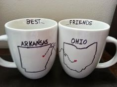 My best friend lives far away. So I made long distance coffee mugs using sharpie. One for her to think of me when she uses it and one for me to think of her when I use it. | Long-Distance-Best-Friends Coffee Mugs