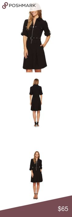 Michael Kors Half-Zip Shirt Dress - Black (size M) Currently $125 in all stores and websites. Brand new without a tag.  PRODUCT DETAILS Create a fun, classic look with this lock zip shirt dress from MICHAEL Michael Kors that features a belted waist. Polyester / elastane Point collar Roll tab sleeves Zip front closure Chest pockets Belted waist Two side pockets Michael Kors Dresses