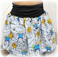 Adventure Time Mathematical Jake and Finn Skirt shirt your Size Kawaii