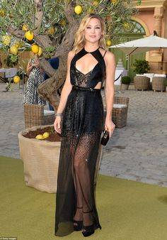 Kate Hudson black sheer beaded Julien MacDonald dress