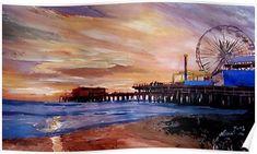 Imagekind Wall Art Print entitled Santa Monica Pier At Sunset by M Bleichner Santa Monica, Wall Tattoos, Skyline, Sunset Art, Painting Edges, Painting Tips, Greatest Adventure, Venice Beach, The Fresh