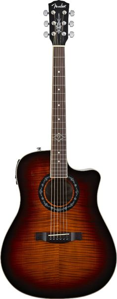 Fender T-BUCKET-300CE Dreadnought Acoustic-Electric Guitar, Flame Maple Top, 3 Tone Sunburst  Sale:	$264.99