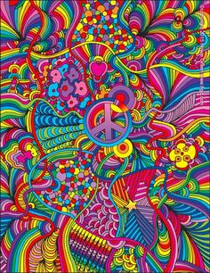 Stretched Canvas Print: Peace Sign Lines by Howie Green : Hippie Painting, Trippy Painting, Hippie Wallpaper, Trippy Wallpaper, Psychedelic Art, Arte Hippy, Trippy Drawings, Hippie Art, Arte Pop