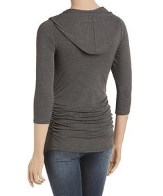 6b7dac6f671ad Love this Charcoal Side-Ruched V-Neck Hooded Maternity Top - Plus Too on