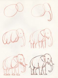 How to draw an elephant - Tiere Malen Elefant - 3d Drawings, Doodle Drawings, Drawing Sketches, Pencil Drawings, Drawing Ideas, Disney Drawings, Pencil Art, Pencil Sketching, Painting & Drawing
