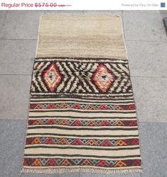 "ON SALE Vintage Turkish Carpet&Kilim Rugs,58""x32""(147x81cm),SHIPPING Free,Handwoven Wool Rug,Tribal Rug,Area Rug,Floor Rug,Natural Dye,Home"