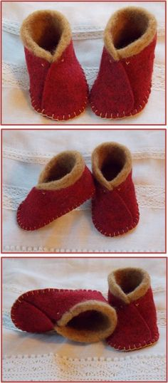 Red Felt Booties (embellished with wool dyed with coffee) -- by Wax II Wane-- inspired by Purl Bee (http://www.purlbee.com/the-purl-bee/2011/12/6/mollys-sketchbook-felt-baby-shoes.html)