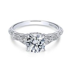18K White Gold Vintage Inspired Amavida Diamond Engagement Ring #weddings #engagementrings #diamonds