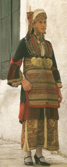 Woman wearing the bridal costume of Episkopi, Imathia, Macedonia. Early 20th century
