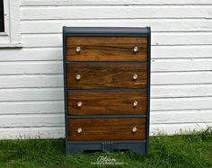 """Vintage Waterfall Dresser in custom """"Blue Jean"""" chalk with walnut stained drawer fronts, wax finish from top to bottom and brand new glass hardware"""